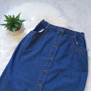 Vintage Button Down Denim Jean Skirt